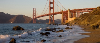 The Golden Gate Bridge (view from Baker Beach at dusk)